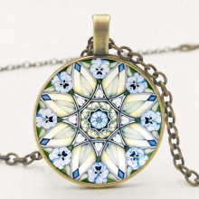 2019 New Symbol Flower Necklace Pendant Kaleidoscope Mandala Fashion Glass Cabochon Jewelry
