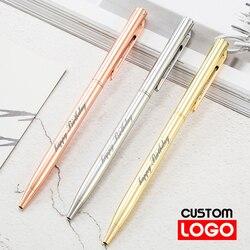 Novo metal esferográfica caneta ouro rosa caneta logotipo personalizado publicidade esferográfica caneta rotulação nome gravado escola & escritório suprimentos