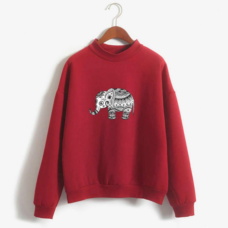 Hoodies Autumn Winter Cartoon Sweatshirts Retro Flower Elephant Japanese Print Fleece Loose Sweatshirt Female Harajuku Pullover