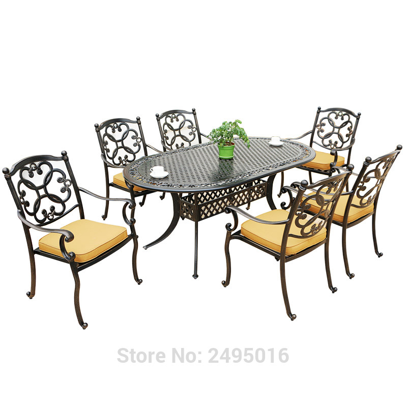 Table Furniture Patio-Dining-Set Garden-Cast 6-Chairs Aluminum Metal with 7pcs-Set Oval