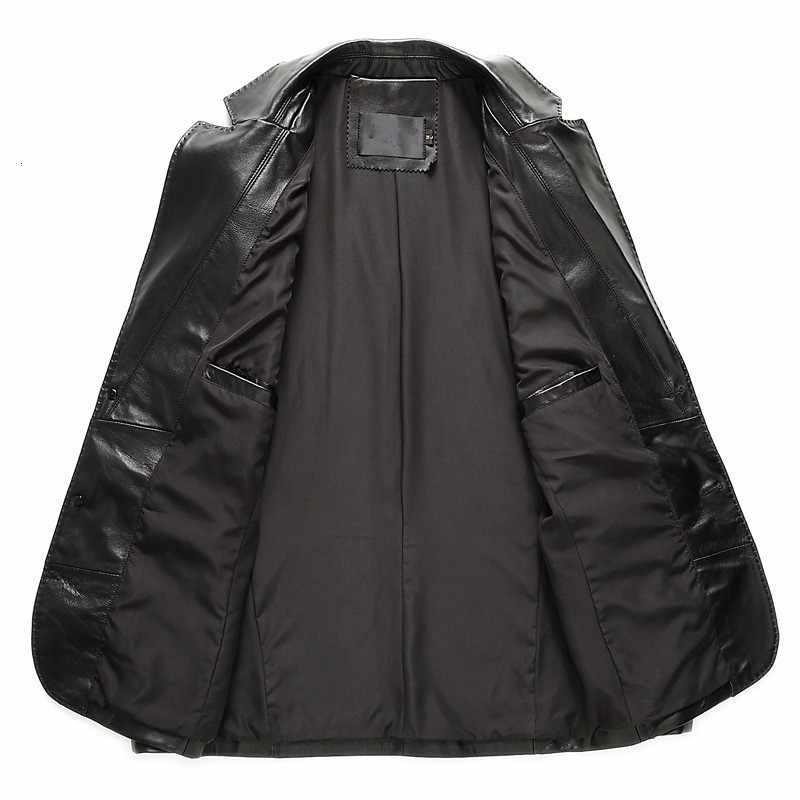 영국 럭셔리 망 정품 가죽 블레 이저 재킷 두 단추 옷 깃 칼라 비즈니스 남자 작업 양복 코트 슬림 맞는 outwear 재킷