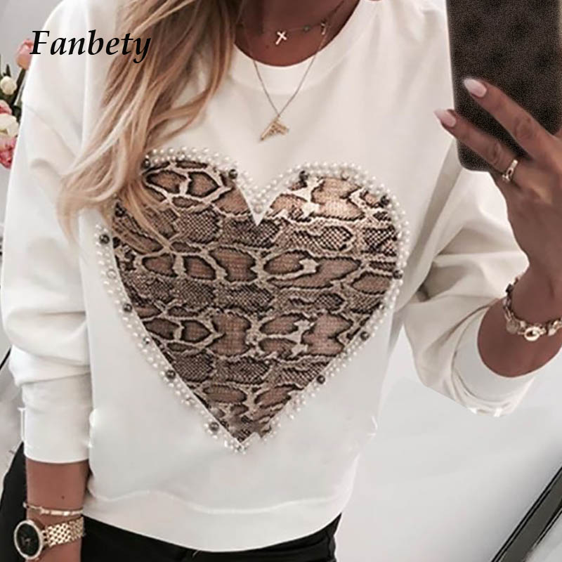 Ladies Kawaii Beads Heart Pattern Blouse Shirts Women Autumn Sequins Lips Print Long Sleeve Pullovers Female Casual O-neck Tops