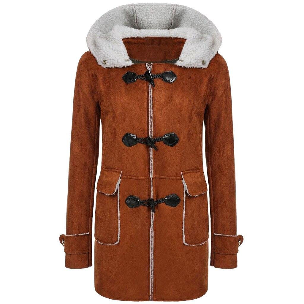 JAYCOSIN femmes moto Imitation peau de daim veste agneau cachemire décontracté longue solide à capuche veste poche corne boucle décontracté manteau