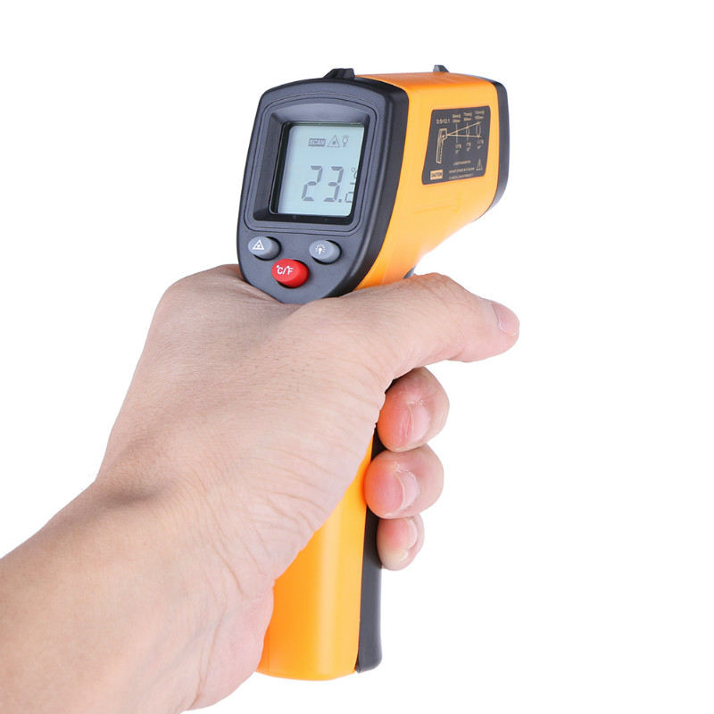 Digital Laser IR Infrared <font><b>Thermometer</b></font> <font><b>LCD</b></font> Non-Contact Pyrometer C F Selection Surface Pyrometer Outdoor/Indoor Temperature Meter image