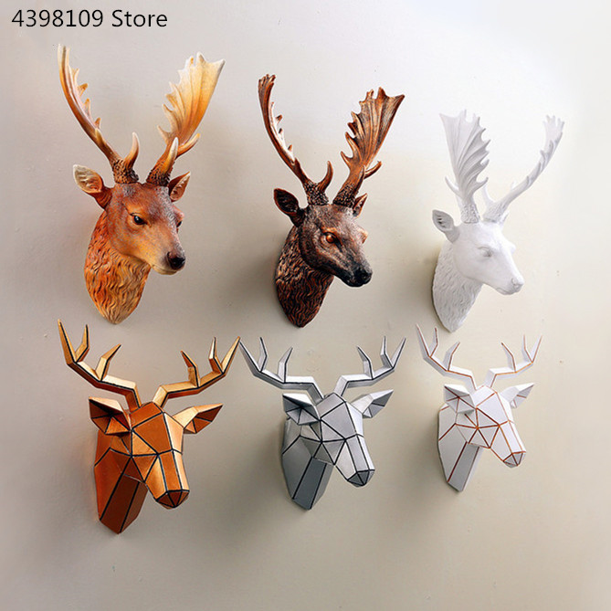 Home Decor Animal Deer Head Statue Pendant Vintage Antelope Head Abstract Sculpture Bar Wall Decoration Deer Head Statue