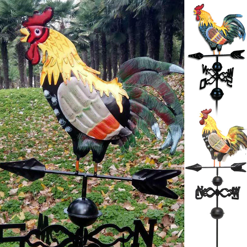 Metal Weather Vane with Rooster Ornament Rooster Weathervanes Garden Patio Decor can CSV|Decorative Stakes & Wind Spinners| |  - title=