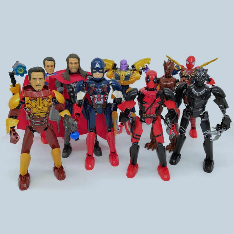 2019 новые Супергерои Marvel Мстители Бесконечность истребитель Дэдпул Черная пантера Человек-паук халки строительные блочные фигурки DIY игрушки