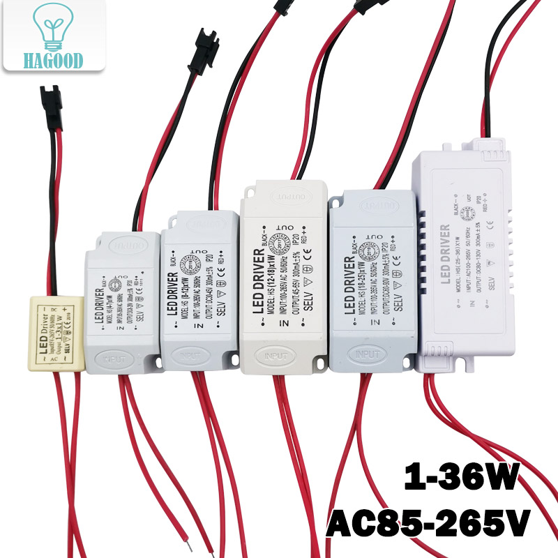 1-36W LED Driver Power Supply  Light Transformers AC85-265V Drive Adapter Built-in Constant Current 300mA For LED Spot Lights