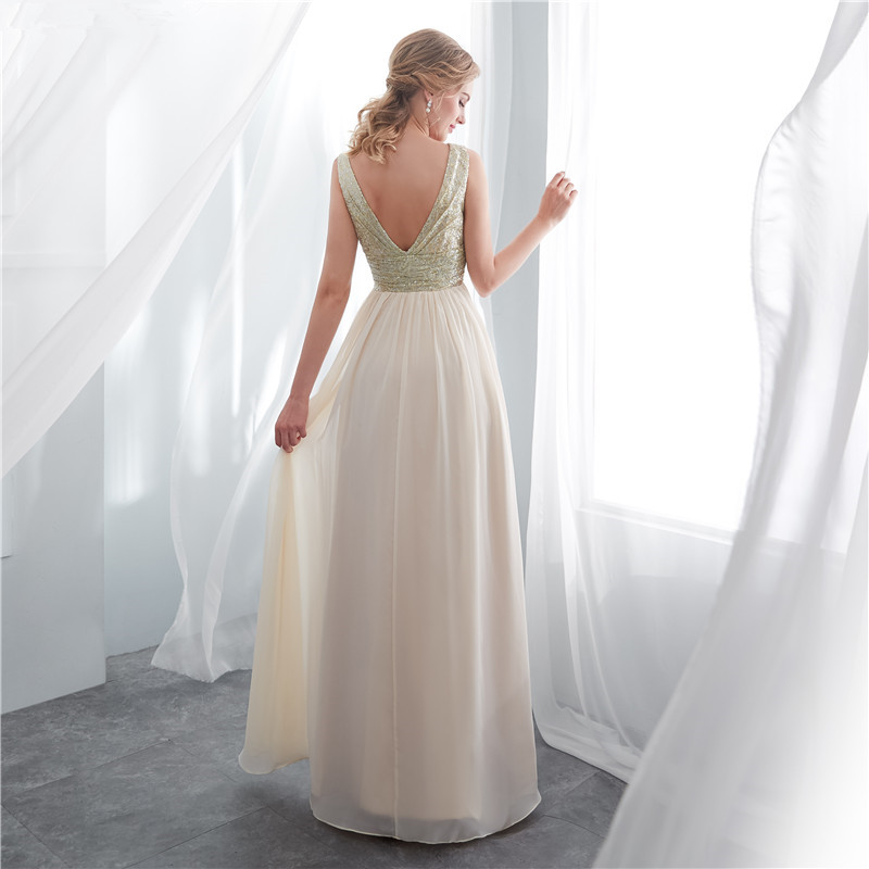 elegant Long Bridesmaid Dresses 2020 Sequins Open Back Chiffon Maid of Honor Dress Wedding Guest Party Gowns vestido madrinha