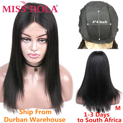Miss Rola 4*4 Lace Closure Human Hair Wigs 100% Human Hair Straight Brazilian Remy hair  Natural Color 8-26 Inchs Middle Ratio