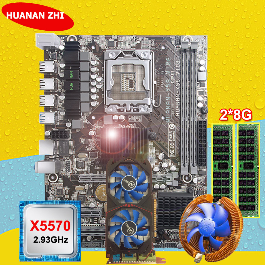 HUANANZHI carte mère paquet discount X58 carte mère avec CPU Intel Xeon X5570 2.93GHz RAM 2*8G REG ECC GTX750Ti 2G carte vidéo