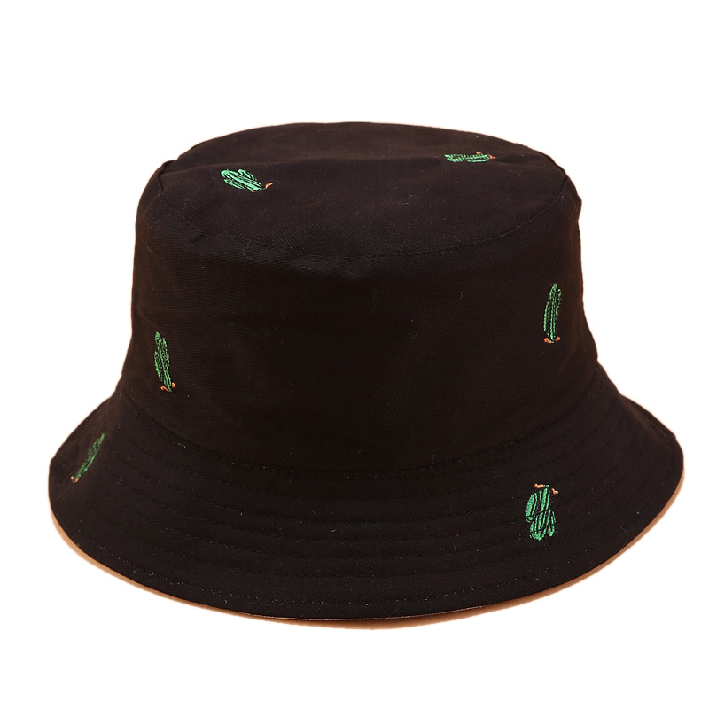 Hot Kf-Cactus Embroidery Double-Sided Fisherman Hat For Men And Women Outdoor Sun Protection Sun Hat Casual Hat