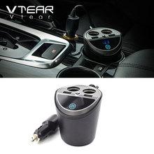 Vtear автомобильное зарядное устройство 2USB DC/5 В 3.1A Многофункциональный прикуриватель Универсальное напряжение светодиодный дисплей чашка мощность зарядное устройство для мобильного телефона s