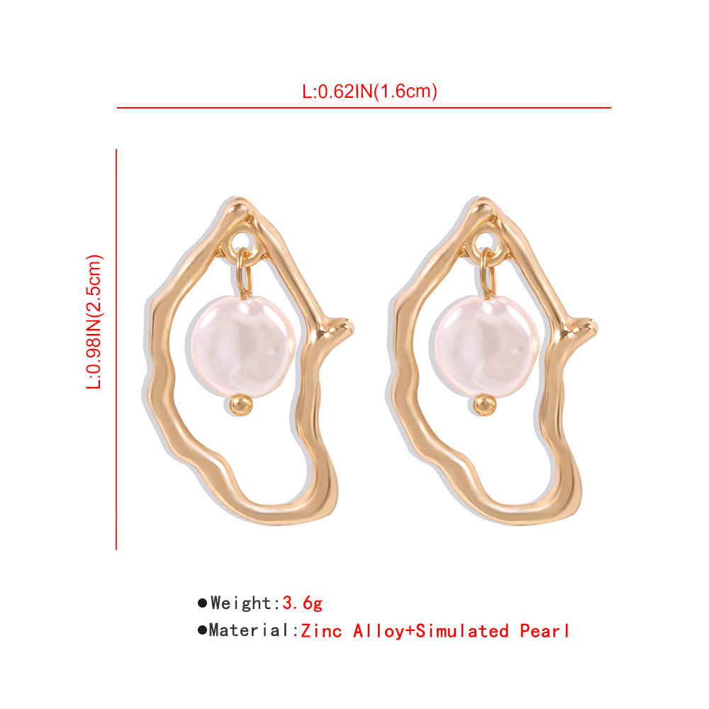 KMVEXO Gold Metal Geometric Baroque Irregular Imitation Pearl Earrings for Women 2020 Fashion Wedding Party Jewelry Pendientes