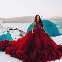 Luxury Burgundy Ball Gown Quinceanera Dress Crysatl Beaded Sweet 16 Dress Long Formal Prom Gowns Party Wear