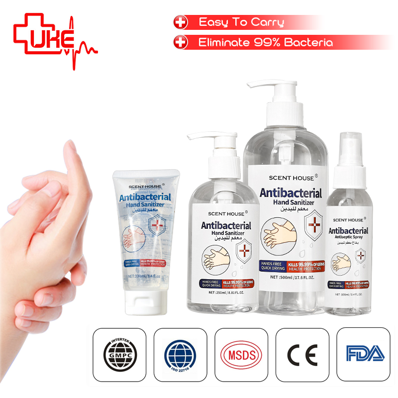 Wash Disinfectant Gel 75 %Alcohol Antibacterial Disinfectant Liquid Hand  Sanitizer Spray Bottle With CE & FDA