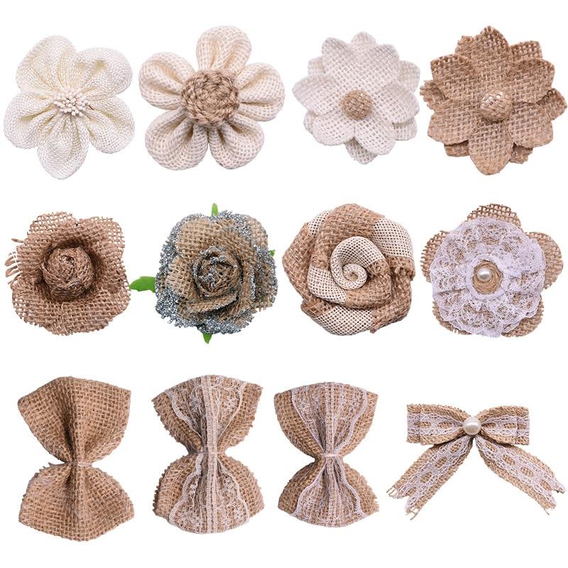 Fita de rosa de serapilheira de juta, 5 peças, artesanal, flores artificiais, laço de natal, vintage, rústico, decoração para casa, faça você mesmo, suprimentos de artesanato