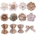 5Pcs Handmade Jute Burlap Rose Künstliche Blumen Hessischen Band Bogen Vintage Rustikalen Hochzeit Hause Dekoration DIY Handwerk Liefert