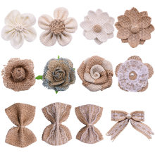 5Pcs Handmade Jute Burlap Rose Artificial Flowers Hessian Ribbon Bow Vintage Rustic Wedding Home Decoration DIY Craft Supplies