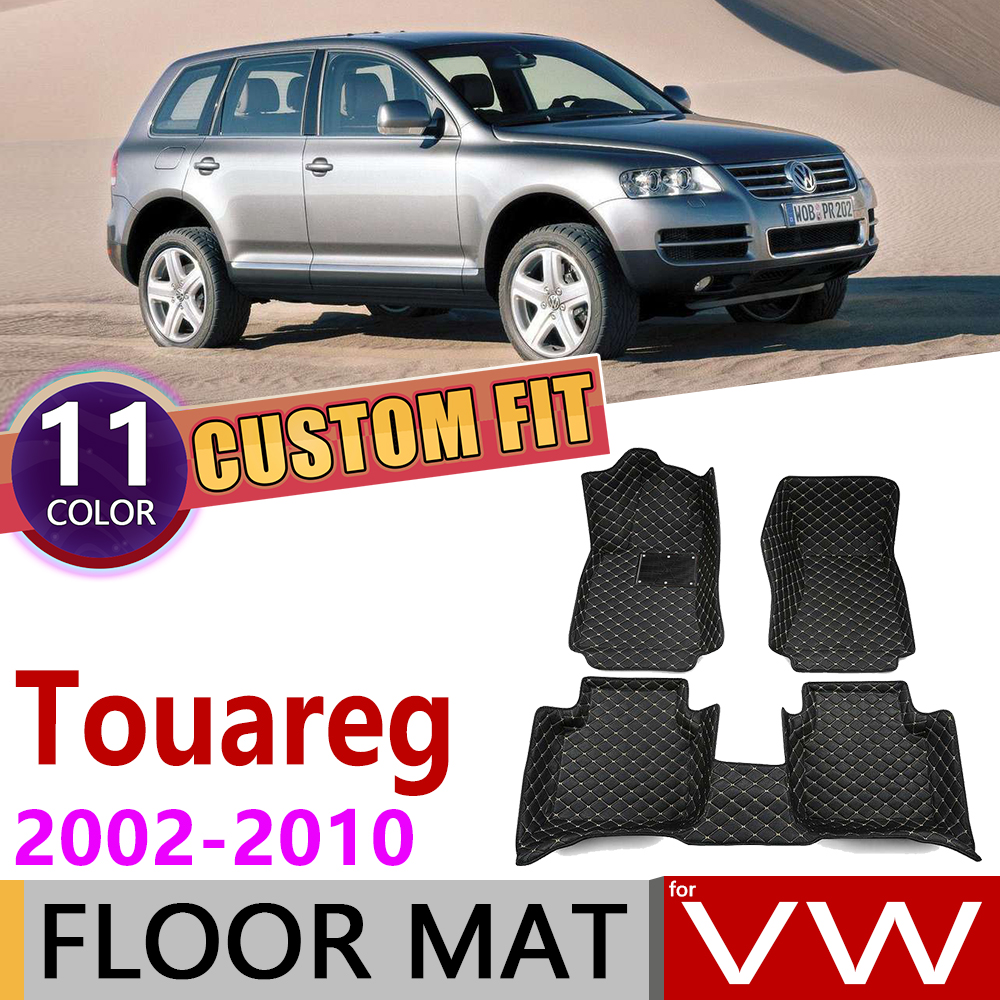 Custom Car Leather Floor Mat For Volkswagen VW Touareg 7L 2002~2010 5 Seats Auto Foot Pad Carpet Accessories 2003 2004 2005 2009