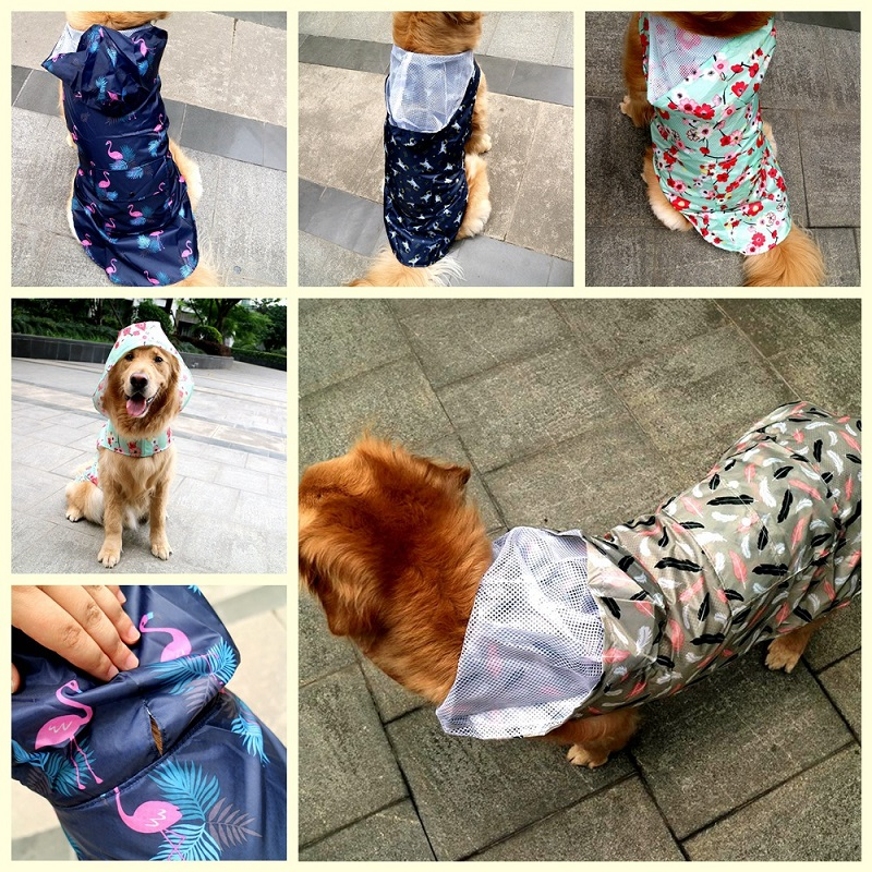 Printing Large Dog Raincoat Waterproof Big Dog Clothes Coat Rain Jacket Breathable Mesh Medium Big Dog Poncho With Traction Hole