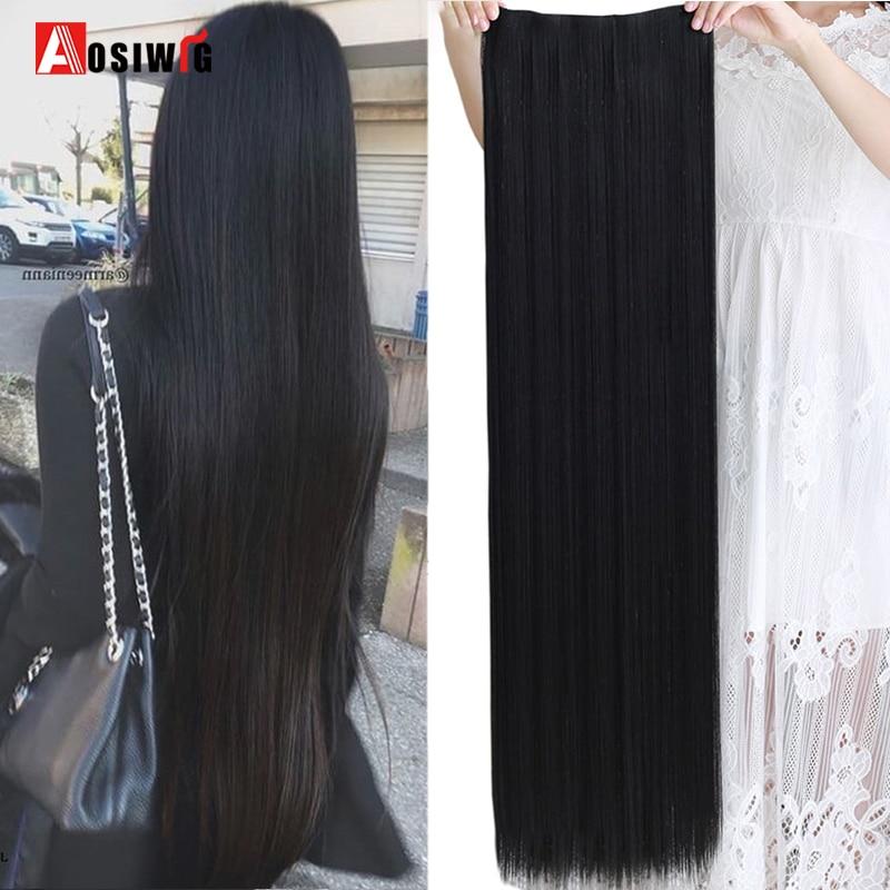 AOSI – Extensions de cheveux synthétiques, 5 tailles, 5 Clips, longues et lisses, résistantes à la chaleur, postiche une pièce noire brune pour femmes