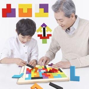 3D головоломки волшебный Tangram детские деревянные развивающие игры хобби Детские пазлы кубики тетрис Пазлы детские игрушки для девочек