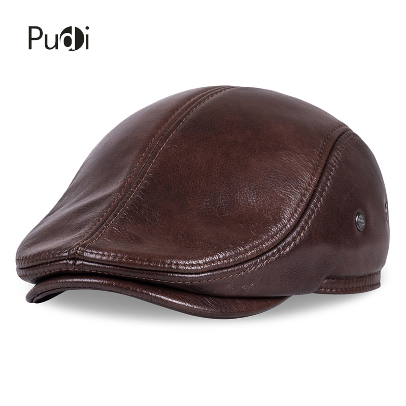 Image 2 - HL042 Spring Mens Real Genuine cow Leather baseball Cap brand Newsboy /Beret  Hat winter warm caps&hats men with ears ear flapleather baseball capbaseball capbaseball cap brand -