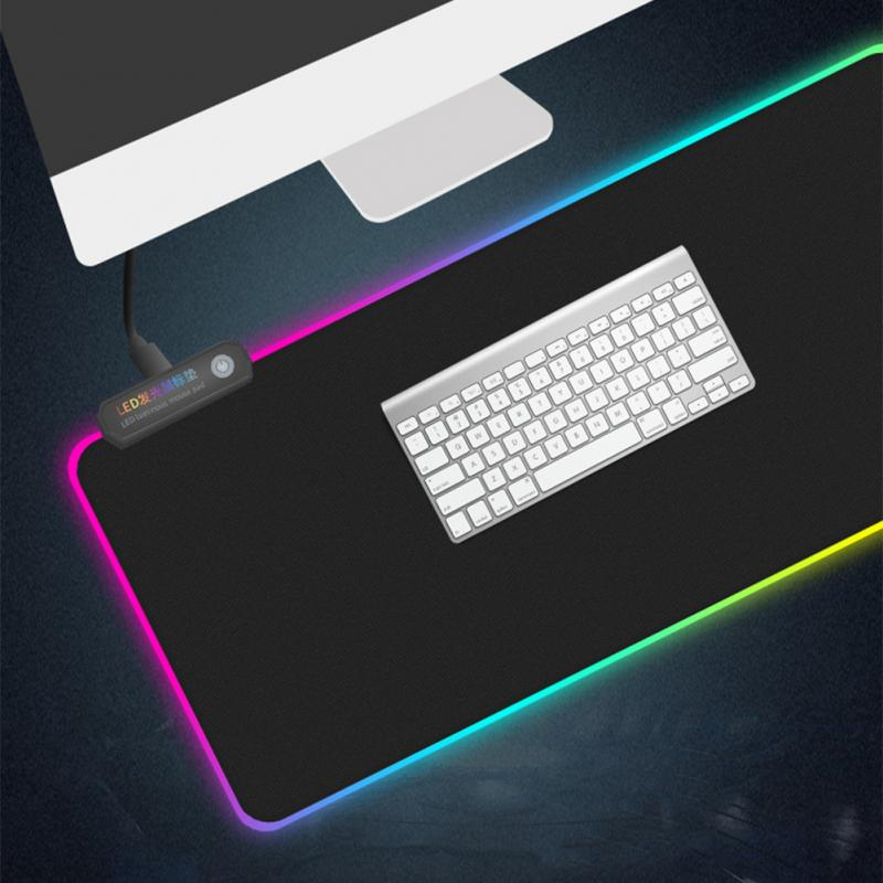 <font><b>LED</b></font> Lighting Extended Gaming <font><b>Mouse</b></font> <font><b>Pad</b></font> Keyboard <font><b>Pad</b></font> Mat Anti-Slip <font><b>RGB</b></font> Gaming <font><b>Mouse</b></font> <font><b>Pad</b></font> Large Rubber Base For Computer PC Laptop image