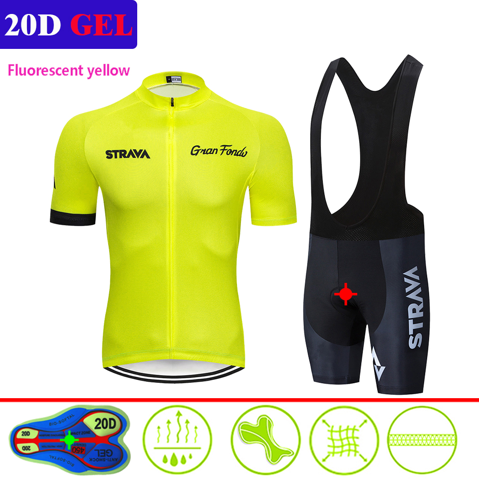 2019 STRAVA Cycling Clothing Short sleeve set Quick Dry Men Bicycle clothing summer Cycling Jersey sets MTB bike shorts suit