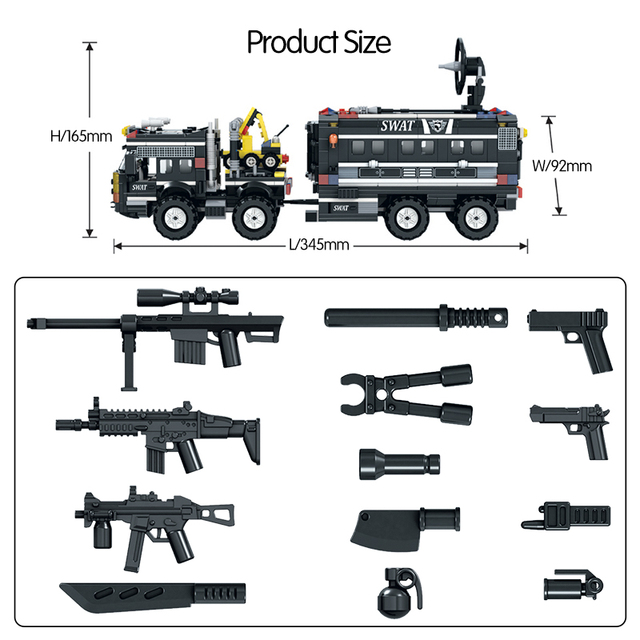 842pcs Police SWAT Truck DIY Car Building Blocks  City Police Station Weapon Figures Bricks Educational Toys for Childre