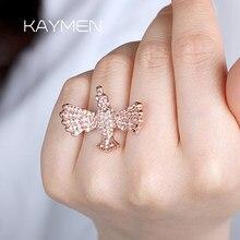 Lindo forma de pássaro rosa pedra anéis para as mulheres luxo enchido cz casamento anéis noivado jóias presentes anillos mujer 00237
