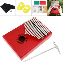 17 Key Red Kalimba Single Board Mahogany Thumb Piano Mbira Mini Keyboard Instrument with Complete Accessories цена