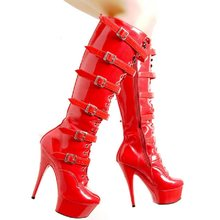 Sexy style 15 cm super high heel waterproof platform size women's boots row buckle paint beautiful model tall boots(China)