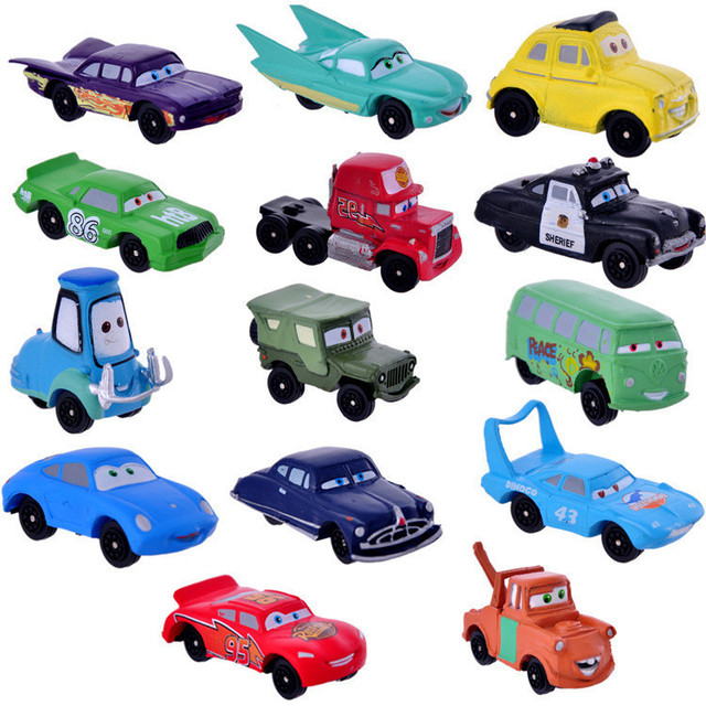 14pcs/set Disney Pixar Cars 3 Diecasts Toy Vehicles McQueen Jackson Storm The King PVC Action Figure Car Model Kid Toy Gift