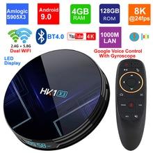 Android 9,0 Dispositivo de TV inteligente HK1 X3 Amlogic S905X3 4GB RAM 128GB 2,4G/5G Dual Wifi BT4.0 1000M LAN USB 3,0 H.265 8K decodificador