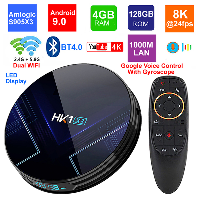 Android 9.0 Smart TV BOX HK1 X3 Amlogic S905X3 4GB RAM 128GB 2.4G/5G Dual Wifi BT4.0 1000M LAN USB 3.0 H.265 8K TV Set Top Box