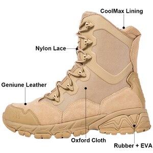 Image 2 - Military Stiefel Wüste Special Kraft Leder herren Lace Up Ankle Schuhe Männliche Taktische Zipper Armee Kampf Sicherheit Arbeit Stiefel