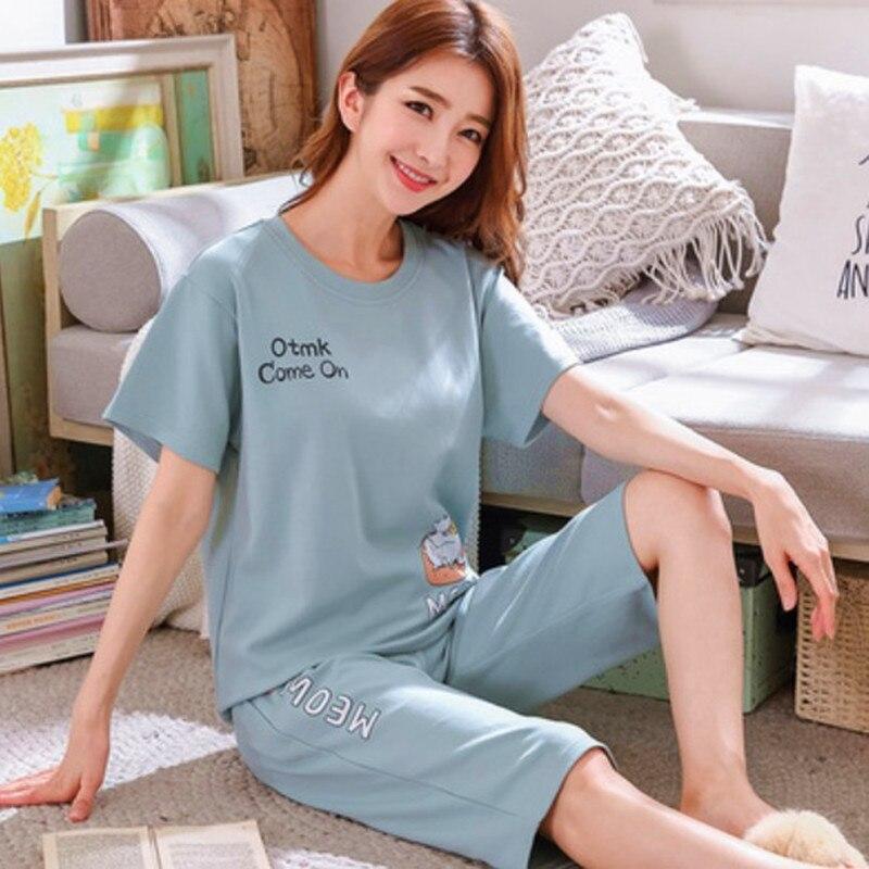 Summer Pajamas Women's Cotton Short-sleeved Sleepwear Plus Size T-shirt + Cropped Pants Two-piece Set Cute Pyjamas Women M-3XL