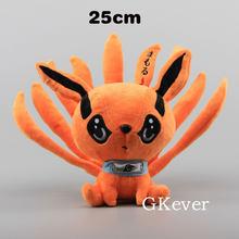 25cm Anime Naruto Shippuden renard démon jouets en peluche poupée mignon Uzumaki Kyuubi Kurama neuf contes renard jouets en peluche cadeau pour les filles enfants