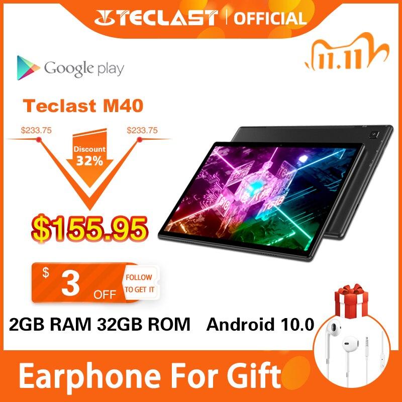 Mais novo teclast m40 tablets android 10.0 tablet pc 6gb ram 128gb rom 10.1 polegada 8mp câmera traseira dupla 4g chamada de telefone bluetooth 5.0