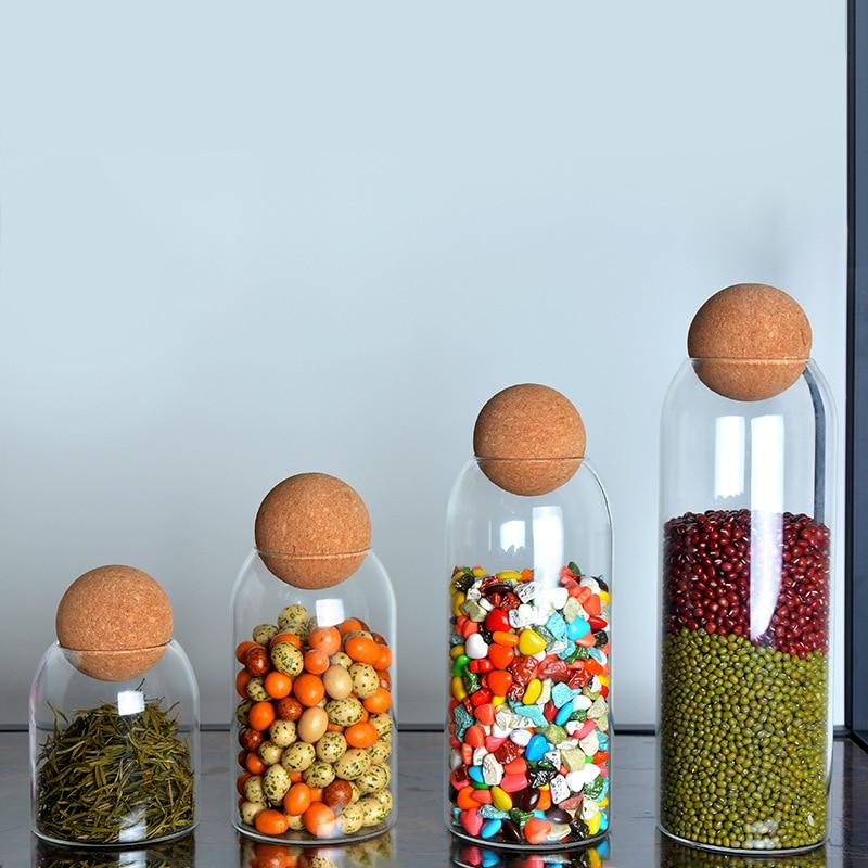 Boule en verre sans plomb de liège bouteille réservoir de stockage scellé personnalisé fruits secs céréales transparent créatif boîtes de thé|Bouteilles et bocaux de stockage|   - AliExpress