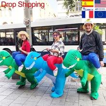 ผู้ใหญ่หรือเด็กInflatable Ride Onไดโนเสาร์สัตว์Cosplayเครื่องแต่งกายวันขอบคุณพระเจ้าคริสต์มาสสำหรับWomeเด็กแฟนซีชุด