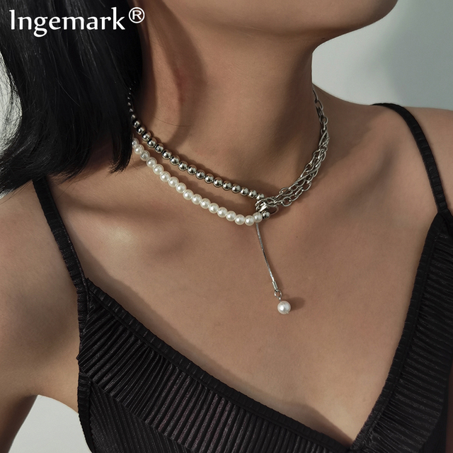 Goth High Quality Pearl Chain Necklace  1