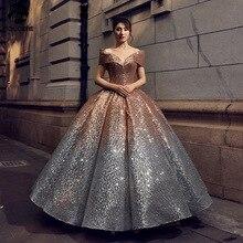 Świecący Gradient Ombre cekinowe sukienki Quinceanera na 15 lat suknie na bal przebierańców Off Shoulder V Neck Sweet 16 Dress