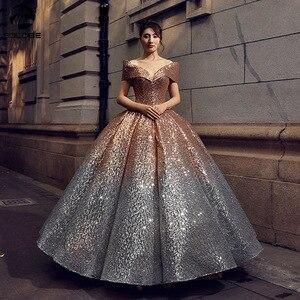 Image 1 - Świecący Gradient Ombre cekinowe sukienki Quinceanera na 15 lat suknie na bal przebierańców Off Shoulder V Neck Sweet 16 Dress