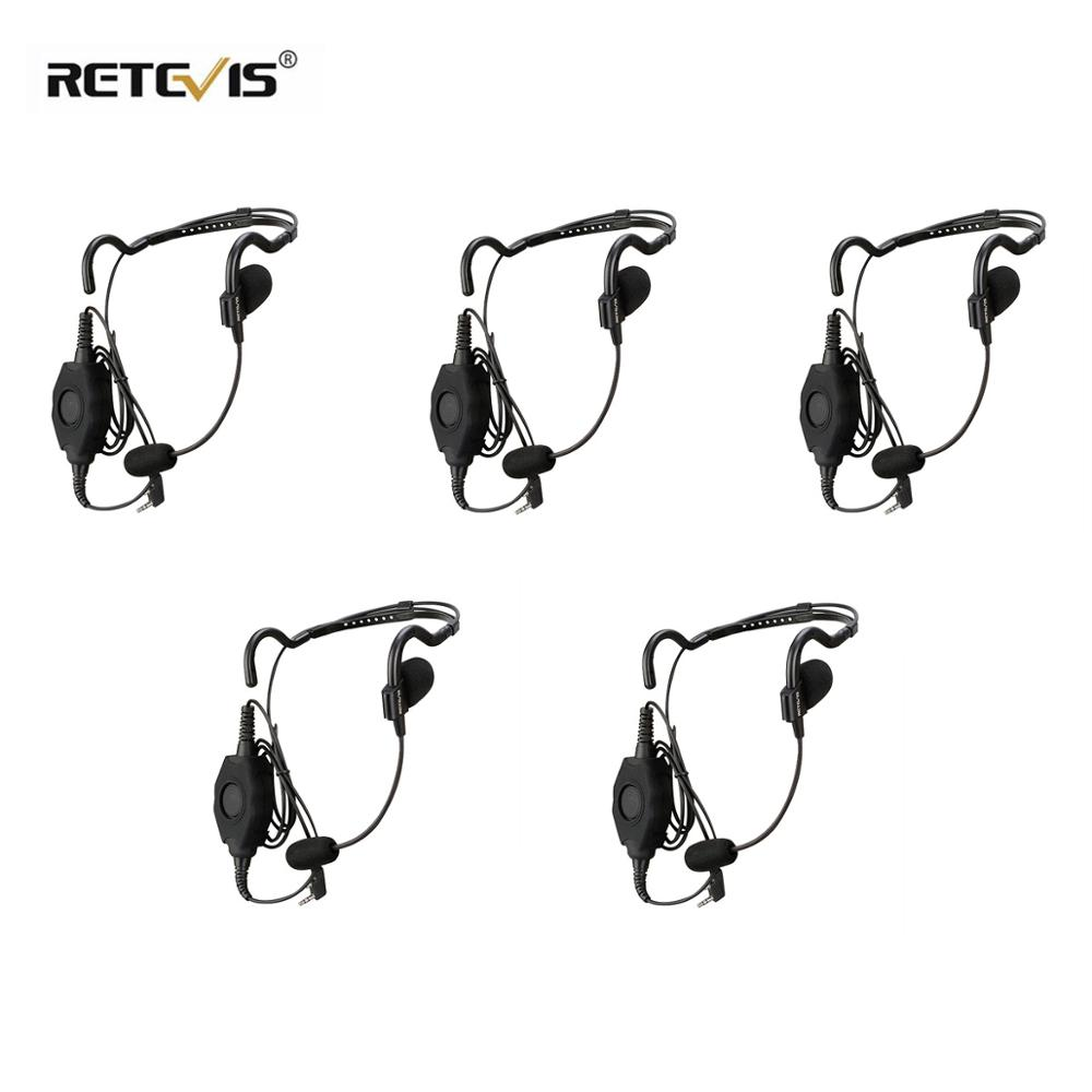 5pcs EHK006 2 Pin Behind-the-Head Tactical Headset Boom Microphone With  IP54 Waterproof Dual PTT For Kenwood Walk-talk C9127A