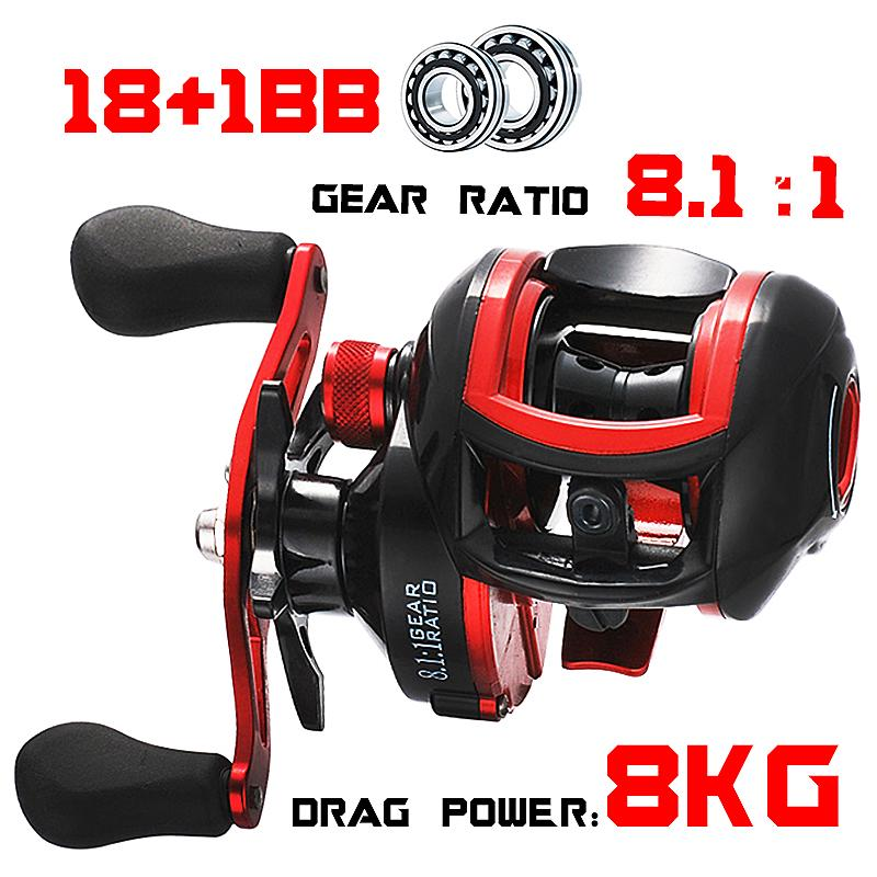 LIZARD low profile reel bait casting Fishing reel baitcasting Fishing reels 18+1BB 8.1:1 7.1:1 8kg Carretilha de pesca