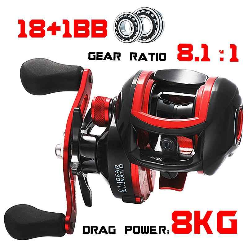 LIZARD LOW PROFILE Reel เหยื่อตกปลา Reel baitcasting Fishing Reels 18 + 1BB 8.1:1 7.1:1 8kg Carretilha de pesca