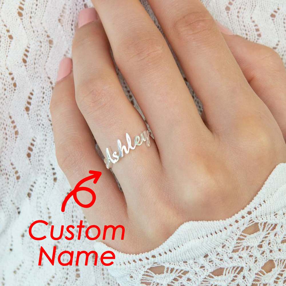 eManco Customized Name Ring for Women Gold Personalized Letter 316L Stainless Steel Rings Jewelry Gift